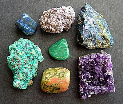Brightly colored minerals