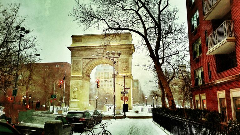 Washington Square Arch In Snow