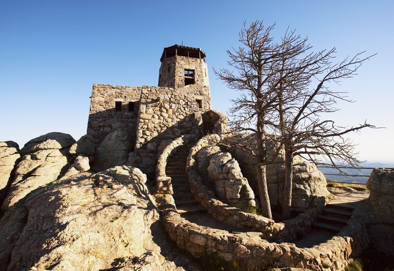 A Stone Building At A Lookout Point At Harney Peak; Black Hills South Dakota United States Of America