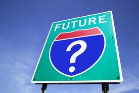 Signo de interrogación de bajo de la palabra Future