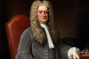 Full color portrait of Sir Isaac Newton sitting in a chair.