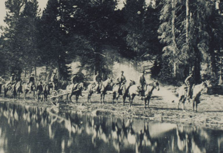 Photograph of horsemen on the Yellowstone Expedition