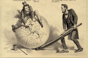 Political cartoon with Lincoln repairing the Union.