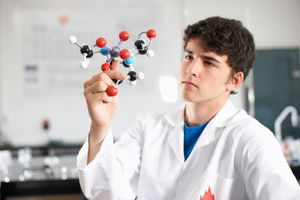 student studying molecule