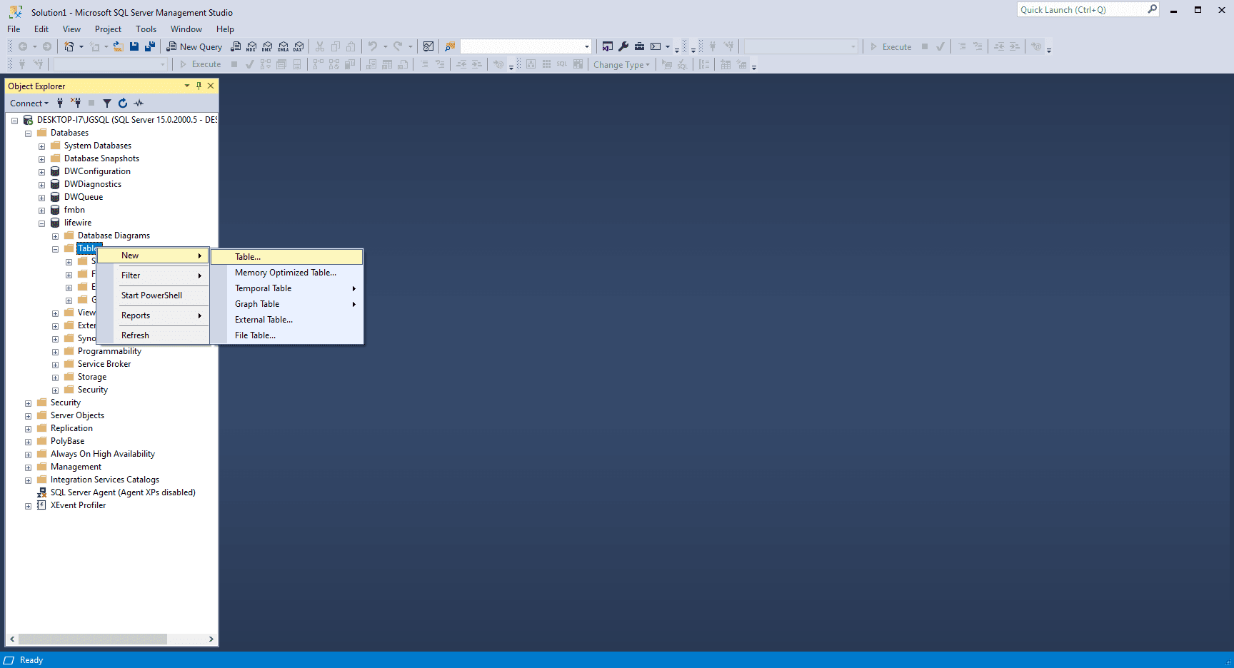 SMSS Add Table dialog box in SQL Server