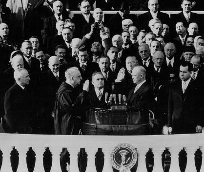 Dwight Eisenhower takes the Oath of Office as the President during his Inauguration