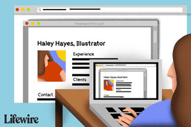 Illustration of a person adding a PDF resume to a website