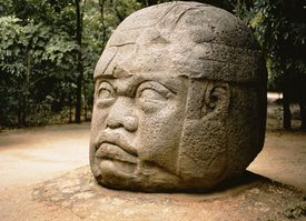 Olmec stone head , Jalapa , Mexico