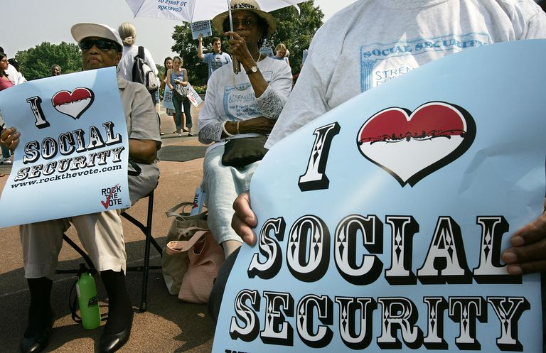People celebrating the 75th anniversary of Social Security