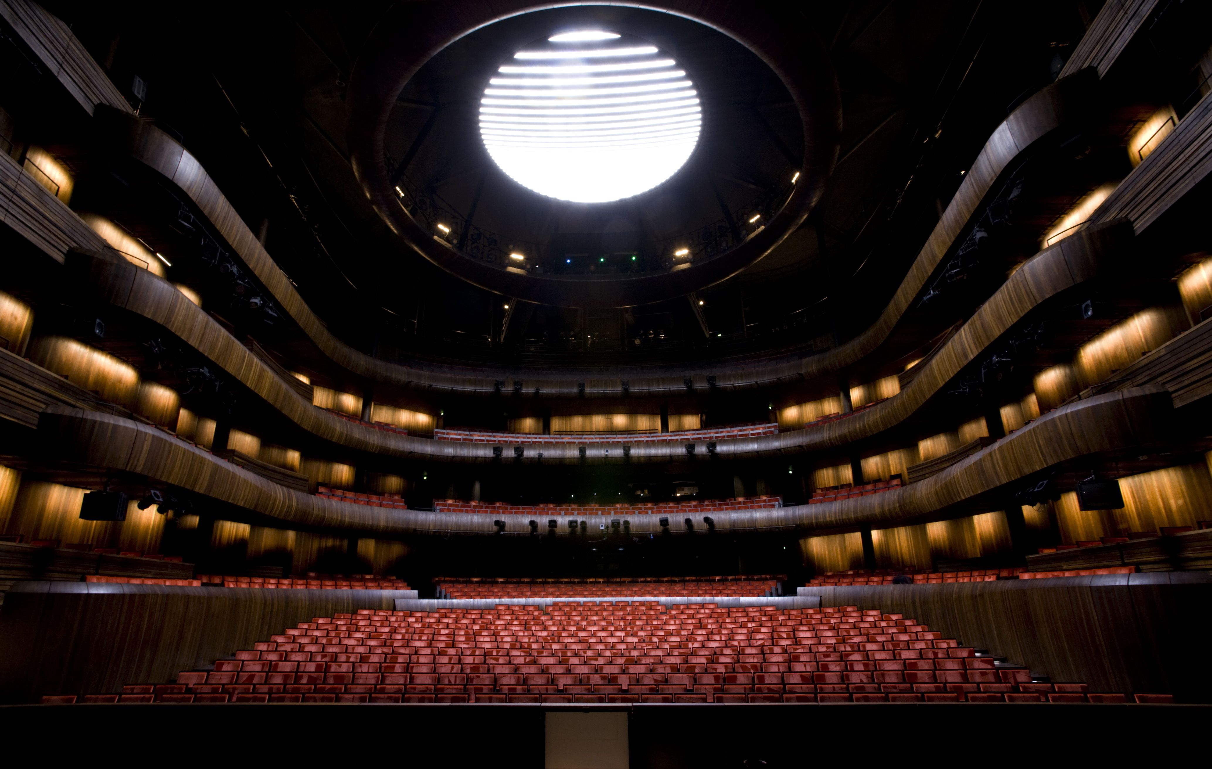 Main Theater at Oslo Opera House, looking from stage out to audience seating