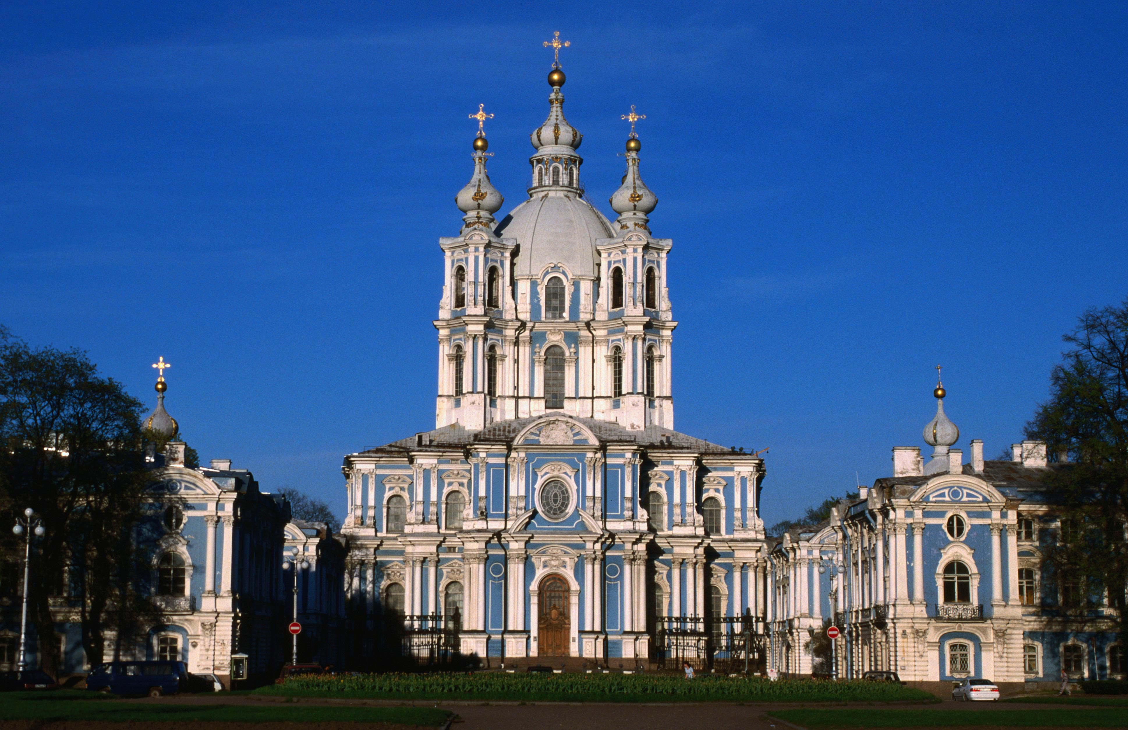 Ornate Rococo Smolny Cathedral, finally completed in 1835, in St. Petersburg, Russia
