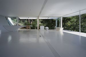open white interior, no walls, open to the exterior woods, a toilet and bathtub in the far corner