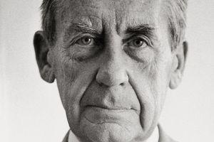 Black and white photo of Bauhaus Architect Walter Gropius