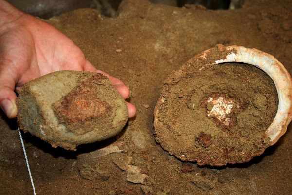 Red Deposit in Abalone Shell from Toolkit 1 at Blombos