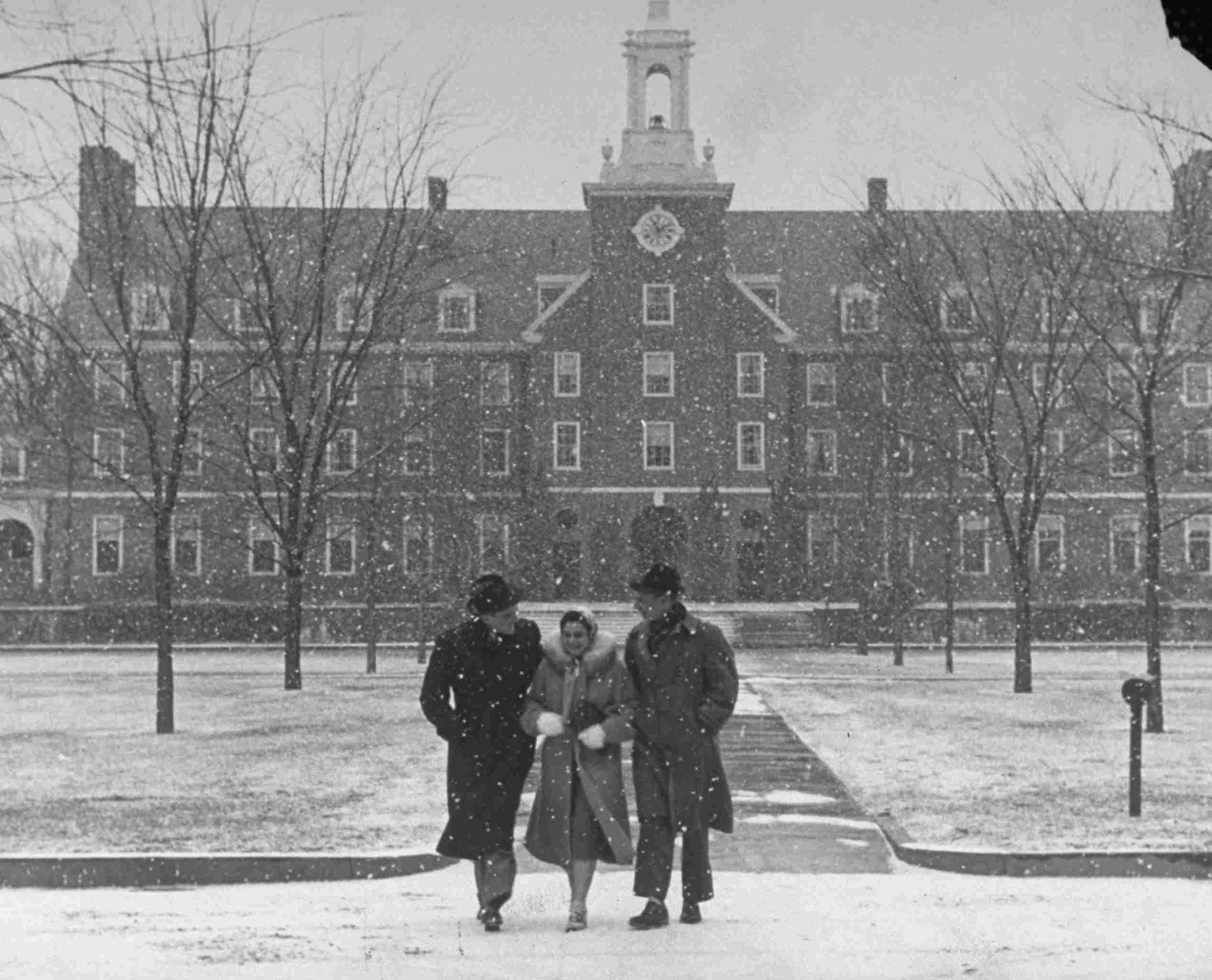 Black and white photo of smith college in the snow