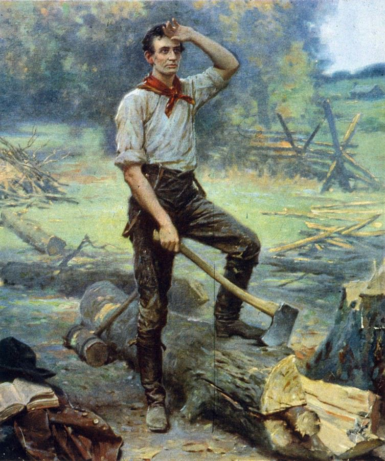 Portrait of a young Abraham Lincoln chopping logs