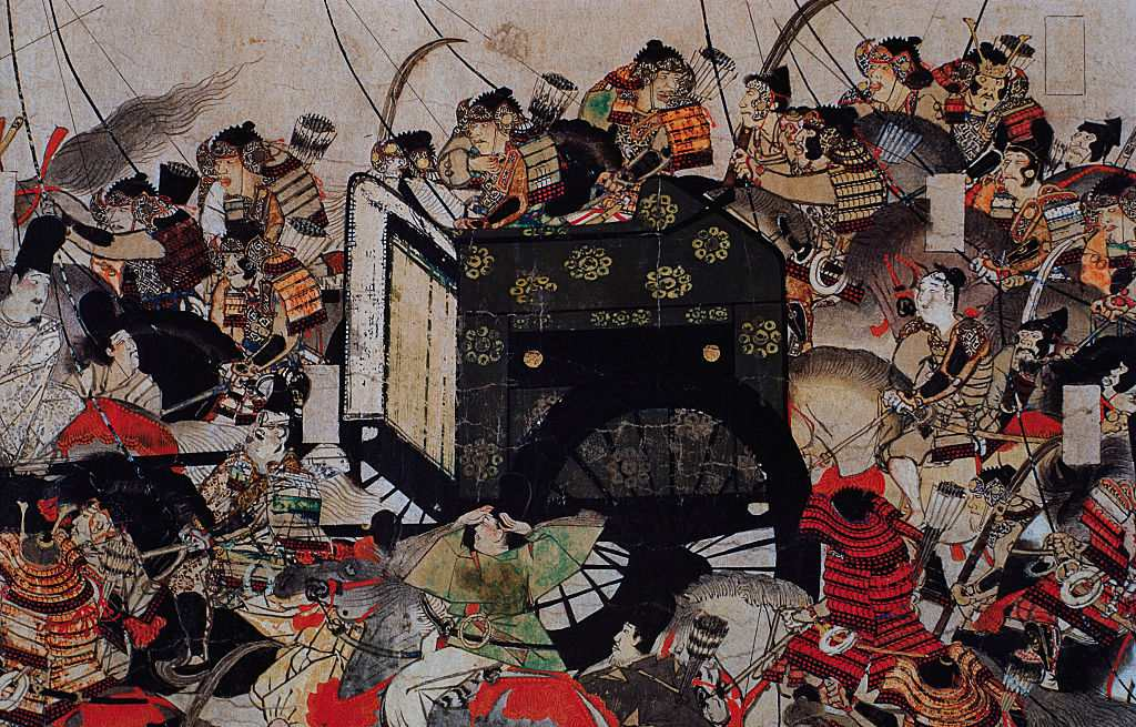 Detail of Samurai Protecting a Royal Carriage from a Scroll Painting.
