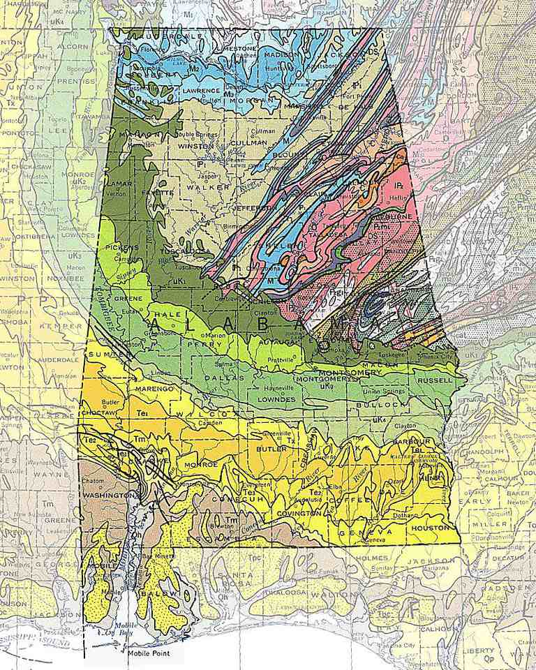 geologic maps of the 50 united states created by andrew alden from the us geological surveys geologic map of the united states 1974 by philip king and