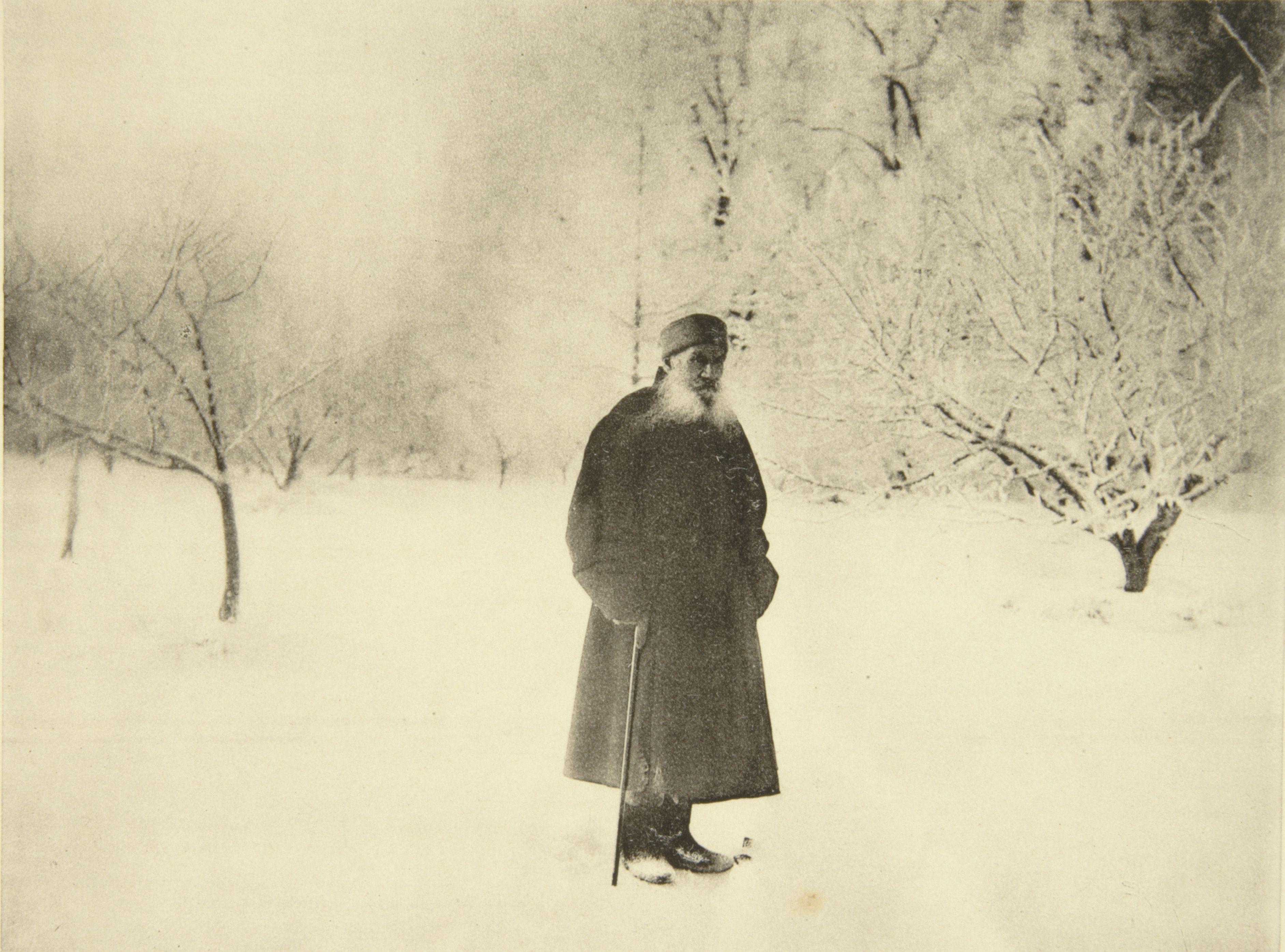 Russian author Leo Tolstoy taking a winter walk, 1900s. Artist: Sophia Tolstaya