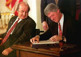 James Brady and Bill Clinton