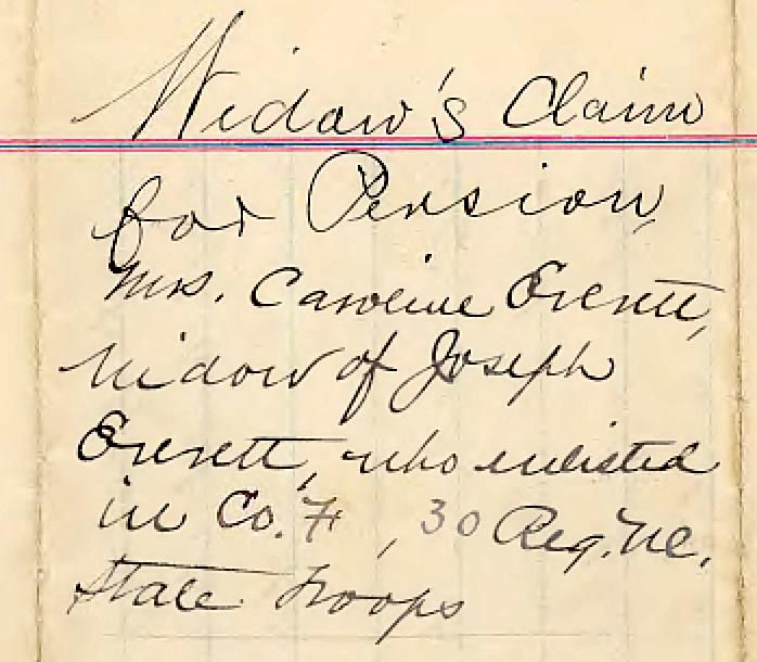 NC Confederate Pension for Caroline Everett, widow of Joseph Everett, Edgecombe County, NC