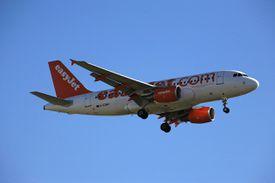 Easyjet airplane in flight.