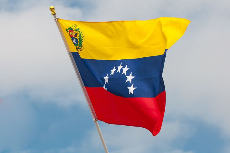 Venezuelan flag waving