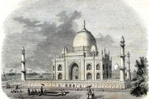The Taj Mahal in a 19th century lithograph