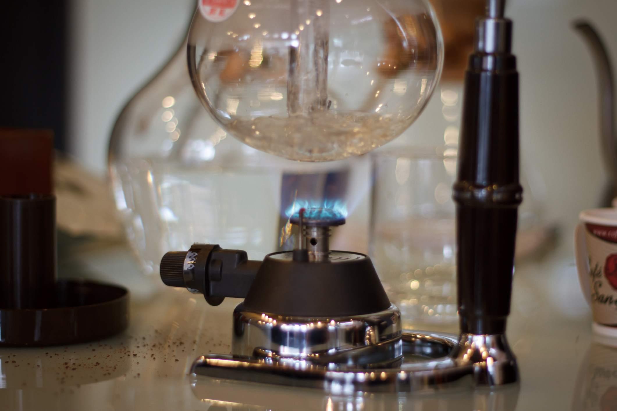 Flask over a gas burner