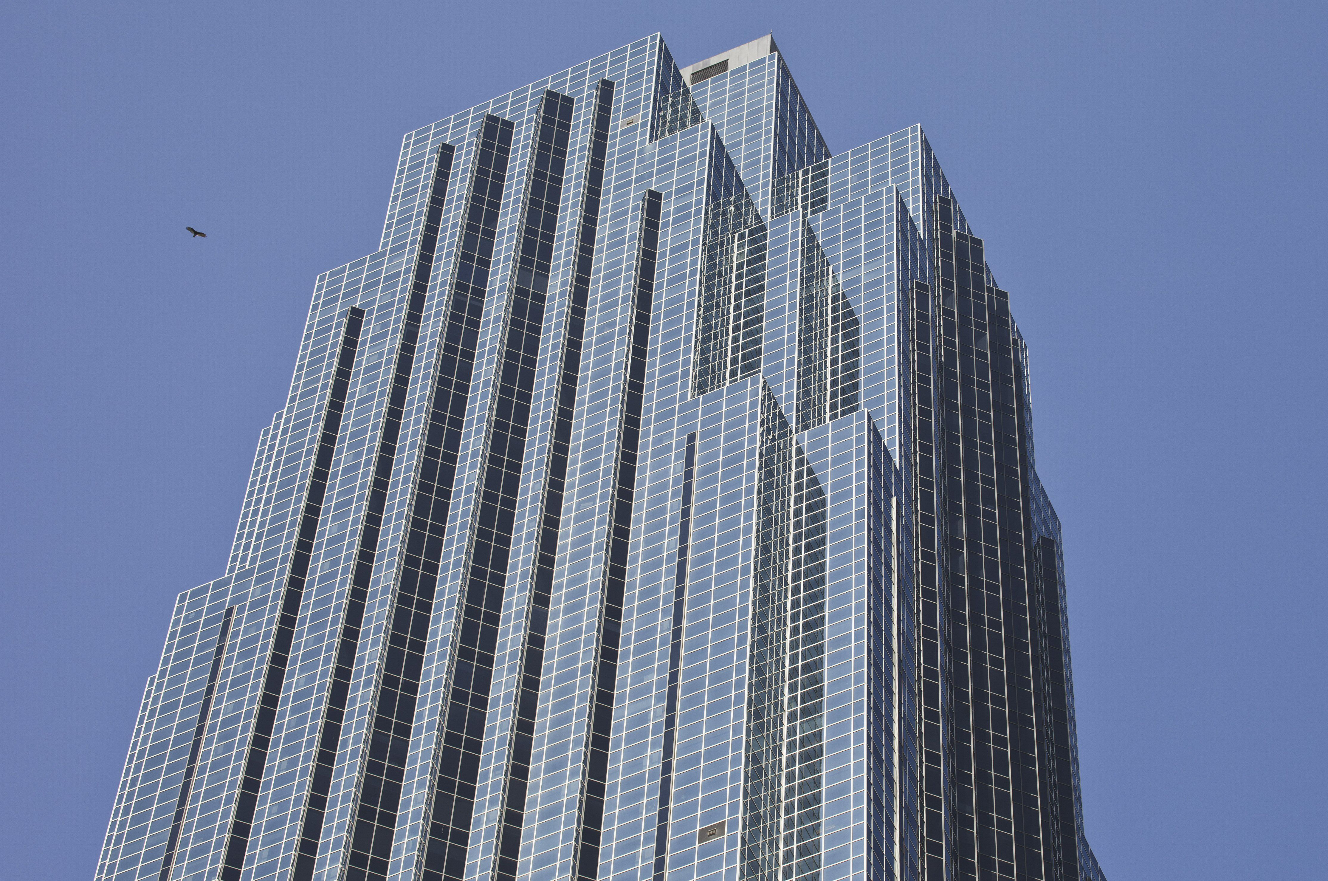 Detail of the glass facade of the Williams Tower in Houston, Texas