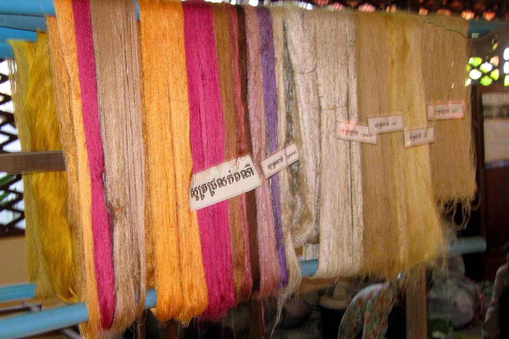 Raw silk in a factory in Siem Reap, Cambodia