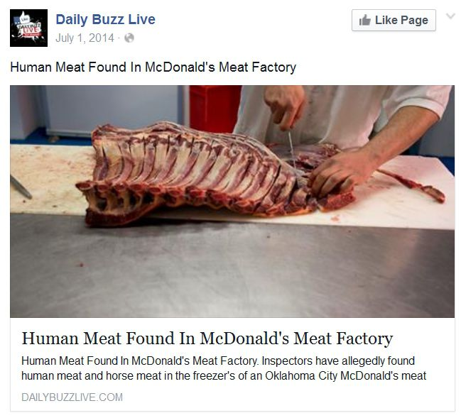 Human Meat Found in McDonald's Meat Factory