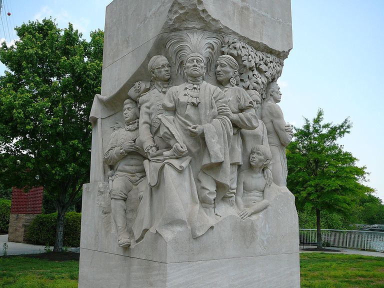 Sculpture depicting the signing of the Holston Treaty at Knoxville, Tenn.