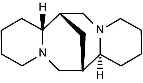 Esta es la estructura química de la esparteína.