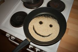 frying pan with a smile