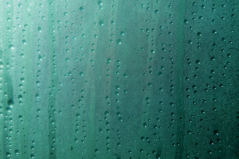 Aqua blue wet window Glass