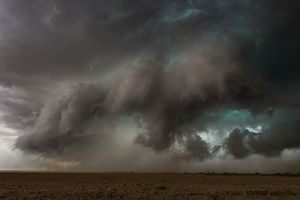 A tornado forming with dramatic lightning in Texas