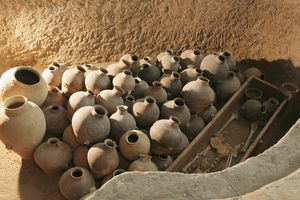 A pile of pottery in Neolithic Burial site.