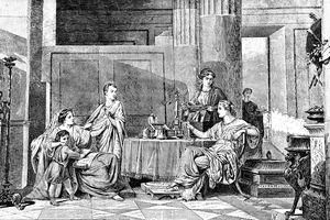 Victorian illustration of Roman family dinner