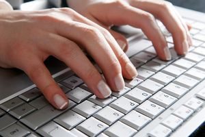 Hands using a keyboard