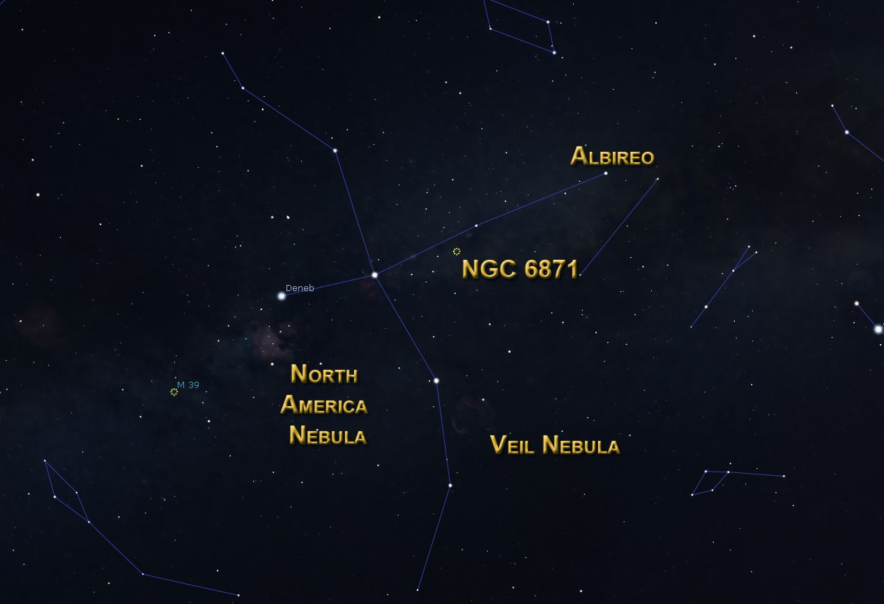 Cygnus deep sky objects.