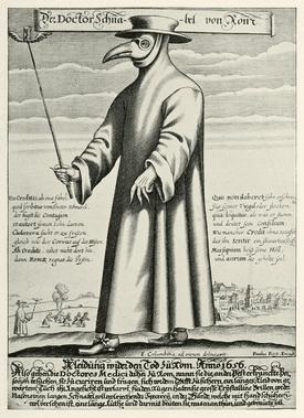 Copper Engraving of Plague Dr. Beak, circa 1656