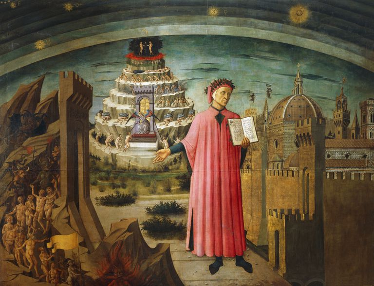 Dante Alighieri and the Divine Comedy, fresco by Domenico di Michelino in Florence, Italy