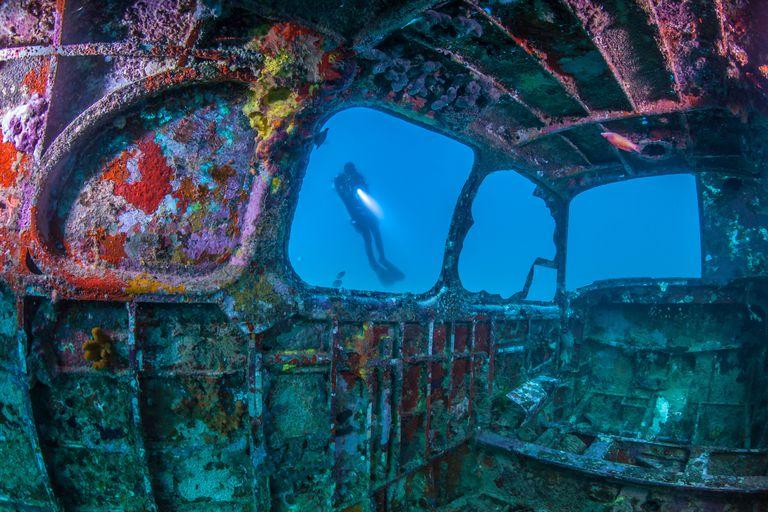 Person Seen Through Shipwreck In Sea