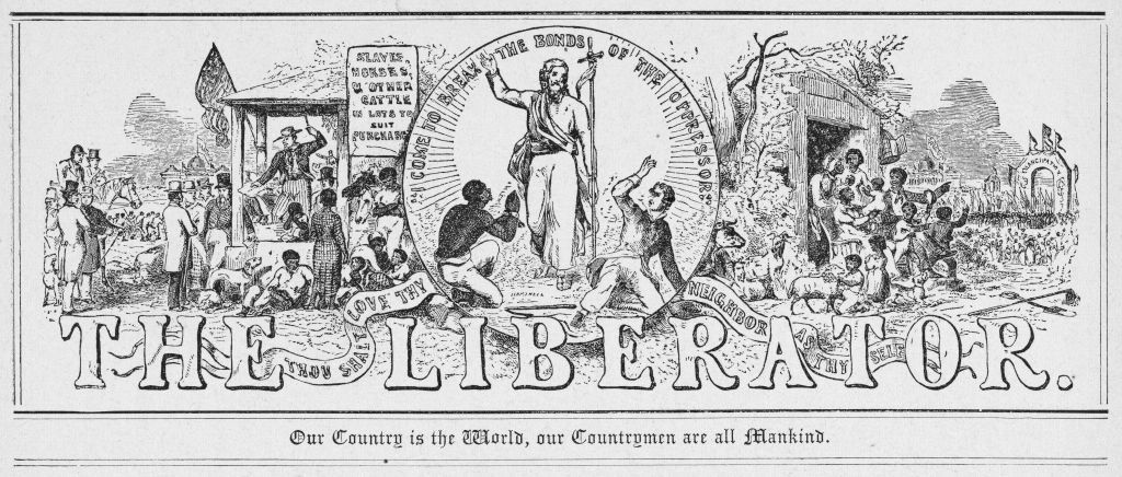 The masthead of weekly abolitionist newspaper The Liberator, 1850.