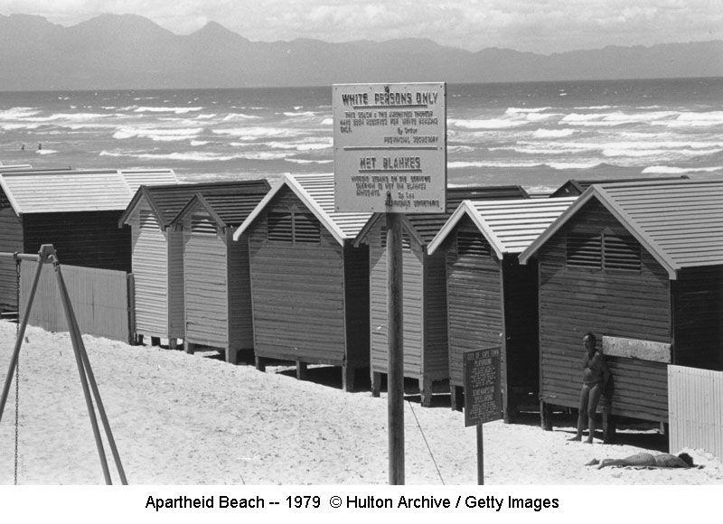 Apartheid Beach sign -- 1979