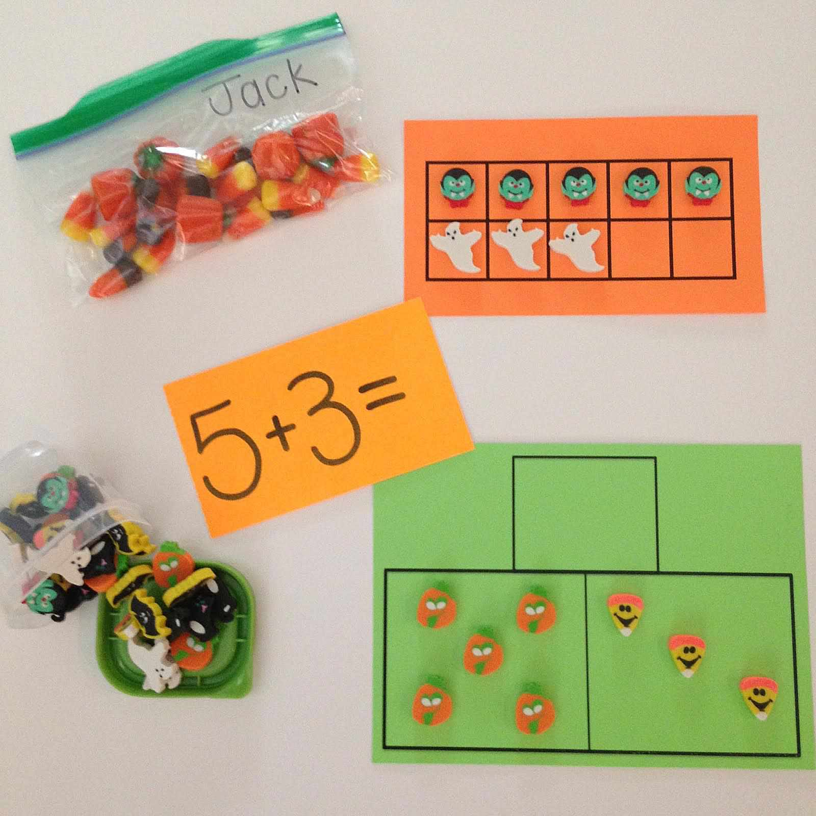 Match activity printables for Halloween with mini erasers.