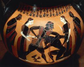 Theseus Fighting the Minotaur, Archaic Ceramic (6th century BCE)