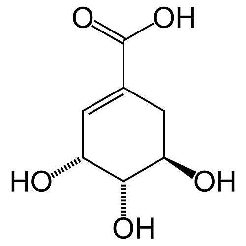 Esta es la estructura química del ácido shikímico.