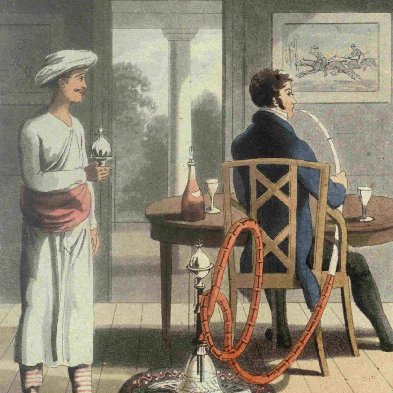 English employee of East India Company smoking a hookah